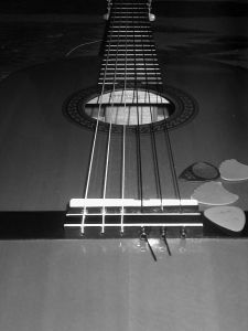 Kevin's Guitar with Picks BW